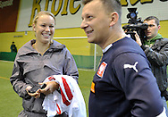 (L) CAROLINE WOZNIACKI ( DANEMARK ) DURING SOCCER TRAINING NATIONAL TEAM OF POLISH JOURNALIST AT BEMOWO FOOTBALL HALL IN WARSAW. WHILE TENNIS GAMES ARE POSTOPONED BY STRONG RAIN DURING FIRST DAY INTERNATIONAL WOMEN TENNIS TOURNAMENT WTA POLSAT WARSAW OPEN AT LEGIA'S COURTS IN WARSAW, POLAND...WARSAW , POLAND , MAY 17, 2010..( PHOTO BY ADAM NURKIEWICZ / MEDIASPORT )..PICTURE ALSO AVAIBLE IN RAW OR TIFF FORMAT ON SPECIAL REQUEST.