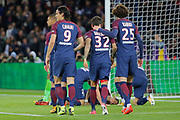 Daniel Alves da Silva (PSG) after scored it goal with Adrien Rabiot (psg), Marco Verratti (psg), Edinson Roberto Paulo Cavani Gomez (psg) (El Matador) (El Botija) (Florestan) to join Angel Di Maria (psg) on the floor during the French Championship Ligue 1 football match between Paris Saint-Germain and OGC Nice on October 27, 2017 at Parc des Princes stadium in Paris, France - Photo Stephane Allaman / ProSportsImages / DPPI