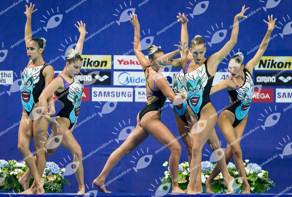 GRE - Greece<br /> ALZIGKOUZI KOMINEA Maria Elli Lela GKEORGKIEVA Giana<br /> KOUTIDI Evangelia MALKOGEORGOU Sofia Evangelia<br /> PAPAZOGLOU Evangelia PLATANIOTI Evangelia<br /> TAXOPOULOU Anna Maria TSOLA Athanasia<br /> Team Free Final<br /> Day8 10/07/2015<br /> XVI FINA World Championships Aquatics<br /> Synchro<br /> Kazan Tatarstan RUS July 24 - Aug. 9 2015 <br /> Photo Pasquale Mesiano/Deepbluemedia/Insidefoto