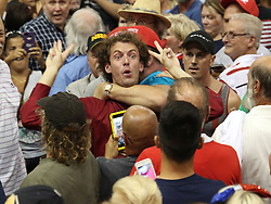 A protestor is detained by Trump supporters during a rally by Republican Presidential candidate Donald Trump at Ocean Center Wednesday, Aug. 3, 2016 in Daytona Beach, FL, USA. Photo by Red Huber/Orlando Sentinel/TNS/BACAPRESS.COM