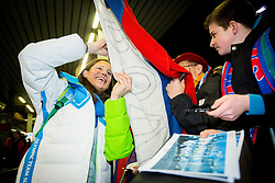 Katja Visnar at reception of Slovenia team arrived from Winter Olympic Games Sochi 2014 on February 19, 2014 at Airport Joze Pucnik, Brnik, Slovenia. Photo by Vid Ponikvar / Sportida