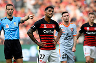 SYDNEY, AUSTRALIA - NOVEMBER 02: Western Sydney Wanderers forward Kwame Yeboah (27) unhappy with a call during the round 4 A-League soccer match between Western Sydney Wanderers FC and Brisbane Roar FC on November 02, 2019 at Bankwest Stadium in Sydney, Australia. (Photo by Speed Media/Icon Sportswire)