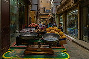 Fruit for sale in the narrow streets of Khan El Khalili  market in Cairo