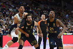 March 2, 2018 - Madrid, Madrid, Spain - Gustavo Ayón (left), #14 of Real Madrid, Luigi Datome, #70 of Fenerbahce (center) and James Nunnally, #21 of Fenerbahce pictured during the 2017/2018 Turkish Airlines EuroLeague Regular Season Round 24 game between Real Madrid and Fenerbahce Dogus Istanbul at WiZink center in Madrid. (Credit Image: © Jorge Sanz/Pacific Press via ZUMA Wire)