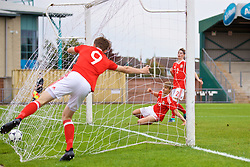 NEWPORT, WALES - Sunday, September 24, 2017: Wales' Oliver Ewing scores the fifth goal during an Under-16 International friendly match between Wales and Gibraltar at the Newport Stadium. (Pic by David Rawcliffe/Propaganda)