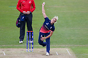 England womens cricket player Katherine Brunt bowls  during the ICC Women's World Cup match between England and Pakistan at the Fischer County Ground, Grace Road, Leicester, United Kingdom on 27 June 2017. Photo by Simon Davies.