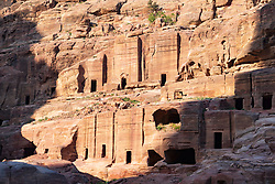 View of the Street of Facades in the ancient Nabatean city of Petra, Jordan. UNESCO World Heritage Site.