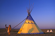 Blackfeet Artis Darrell Norman and his Tipi, Browning, Montana,