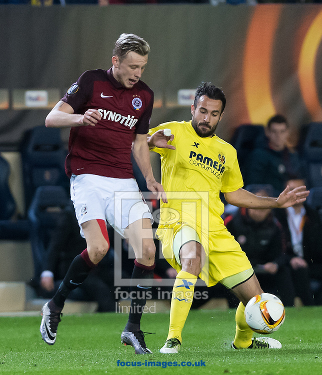 Mario Gaspar of Villarreal CF and Ladislav Kracej of AC Sparta Prague during the UEFA Europa League quarter final match at Estadio El Madrigal, Villarreal<br /> Picture by Maria Jose Segovia/Focus Images Ltd +34 660052291<br /> 07/04/2016