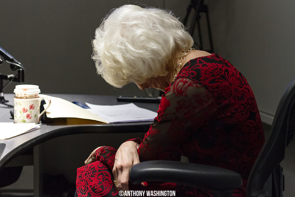 Diane Rehm, host of The Diane Rehm Show, can often be found in this position whenever she is listening intently to an audio recording. Here she is listening to the opening billboard that she just recorded for her final show on Friday, December 23, 2017 at WAMU 88.5 in Washington, DC.