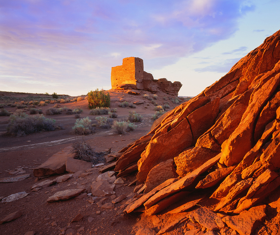 0121-1033B ~ Copyright: George H. H. Huey ~ Wukoki Pueblo ruin at sunrise. Sinagua culture. Occupied A.D. 1100's. Near present day town of Flagstaff. Wupatki National Monument, Arizona.