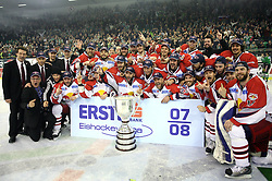 Players of Red Bull Salzburg from Austria celebrate title after sixth game of the Final of EBEL league (Erste Bank Eishockey Liga) between ZM Olimpija vs EC Red Bull Salzburg,  on March 25, 2008 in Arena Tivoli, Ljubljana, Slovenia. Red Bull Salzburg won the game 3:2 and series 4:2 and became the Champions of EBEL league 2007/2008.  (Photo by Vid Ponikvar / Sportal Images)..