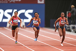 February 7, 2018 - Paris, Ile-de-France, France - From left to right :  Orlan Ombissa-Dzangue of France, Marie-Josee Ta Lou of Ivory Coast, Remona Burchell of Jamaica compete in 60m during the Athletics Indoor Meeting of Paris 2018, at AccorHotels Arena (Bercy) in Paris, France on February 7, 2018. (Credit Image: © Michel Stoupak/NurPhoto via ZUMA Press)