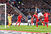 4th September 2017, Hampden Park, Glasgow, Scotland; World Cup Qualification, Group F; Scotland versus Malta; Scotland's Christophe Berra scores with a header for 1-0