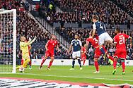 4th September 2017, Hampden Park, Glasgow, Scotland; World Cup Qualification, Group F; Scotland versus Malta; Scotland's Christophe Berra scores with a header for 1-0