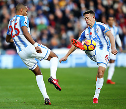 Jonathan Hogg and Mathias Zanka Jorgensen of Huddersfield Town - Mandatory by-line: Matt McNulty/JMP - 04/11/2017 - FOOTBALL - The John Smith's Stadium - Huddersfield, England - Huddersfield Town v West Bromwich Albion - Sky Bet Championship
