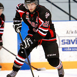 NEWMARKET, ON - Feb 4 : Ontario Junior Hockey League Game Action between the Stouffville Spirit and the Newmarket Hurricanes, Andres Kopstals #22 of the Stouffville Spirit Hockey Club during the pre-game warm-up.<br /> (Photo by Brian Watts / OJHL Images)
