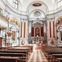 CHURCH OF SANTA MARIA DELLA PIETÀ O DELLA VISITAZIONE (XVIII sec.)..Santa Maria AssuntaFirst fondation was of the fifteenth century but its actual aspect is due to architect Massari who completely rebuilt it in the 1745..The facade has a classical style, with a bas-relief above the main entrance representing the La Carità, a work by the sculptor Marsili (1800)..Church has a egg-shaped plan with a vaulted ceiling; sideways there're two choirs where once were played concerts by the woman whom used to live in the institute that stands from the side..Church has an absolute importance becouse of the presence of Gian Battista Tiepolo's works, the Fortezza e la Pace on the ceiling of the entry and the Trionfo delle Fede painted on the ceiling of the church, a real masterpiece by Tiepolo representing the crowning of Our Lady by the God's hand. i ....© MARCO SECCHI