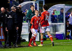 BANGOR, WALES - Tuesday, November 14, 2017: Wales' Jack Evans is substituted for Matthew Smith during the UEFA Under-21 European Championship Qualifying Group 8 match between Wales and Romania at the Nantporth Stadium. (Pic by Paul Greenwood/Propaganda)