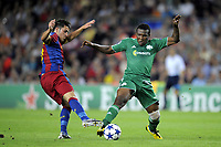 FOOTBALL - CHAMPIONS LEAGUE 2010/2011 - GROUP STAGE - GROUP D - FC BARCELONA v PANATHINAIKOS - 14/09/2010 - PHOTO JEAN MARIE HERVIO / DPPI - DAVID VILLA (FCB) / SIMAO (PAN)