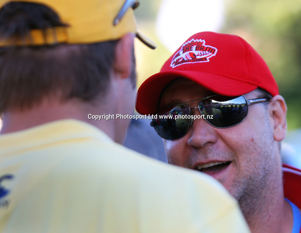 Actor Russell Crowe chats with Richie McCaw. Fill The Basin for Christchurch fundraising cricket match - Canterbury Invitational XI v Wellington Legends XI  at Hawkins Basin Reserve, Wellington, New Zealand on Sunday, 13 March 2011. Photo: Dave Lintott / lintottphoto.co.nz