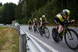 Mitchelton Scott on their way to a second place finish at Ladies Tour of Norway 2018 Team Time Trial, a 24 km team time trial from Aremark to Halden, Norway on August 16, 2018. Photo by Sean Robinson/velofocus.com