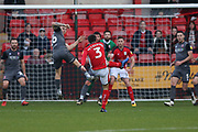 3 Harry Pickering shoots on goal for Crewe Alexander during the EFL Sky Bet League 2 match between Crewe Alexandra and Lincoln City at Alexandra Stadium, Crewe, England on 26 December 2018.