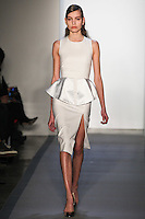 Julia Suszfalak walks down runway in F2012 Peter Som's collection, New York, Feb 10, 2012