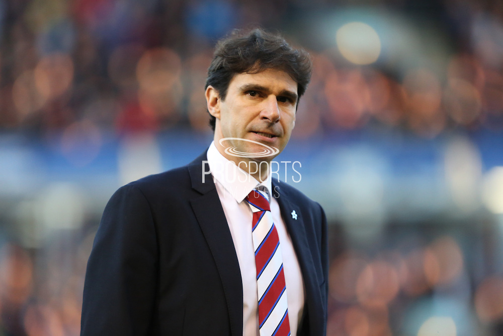 Middlesbrough manager Aitor Karanka during the Sky Bet Championship match between Burnley and Middlesbrough at Turf Moor, Burnley, England on 19 April 2016. Photo by Simon Brady.