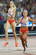 Great Britain, London - 2017 August 13: (L) Iga Baumgart (BKS Bydgoszcz) of Poland and (R) Aleksandra Gaworska of Poland compete in women&rsquo;s 4x400 meters relay final during IAAF World Championships London 2017 Day 10 at London Stadium on August 13, 2017 in London, Great Britain.<br /> <br /> Mandatory credit:<br /> Photo by &copy; Adam Nurkiewicz<br /> <br /> Adam Nurkiewicz declares that he has no rights to the image of people at the photographs of his authorship.<br /> <br /> Picture also available in RAW (NEF) or TIFF format on special request.<br /> <br /> Any editorial, commercial or promotional use requires written permission from the author of image.