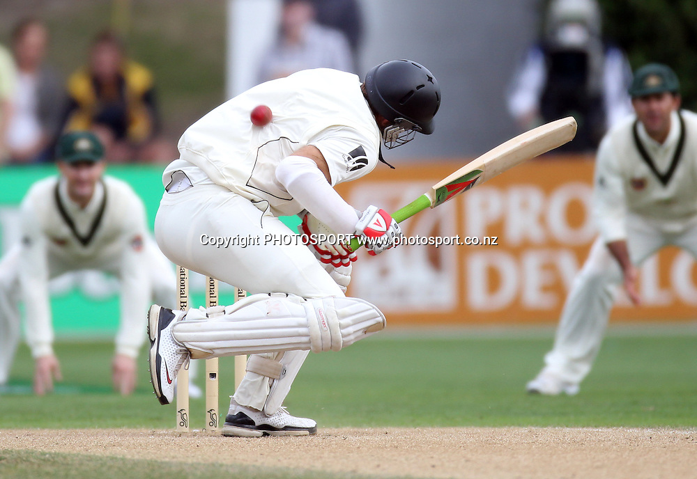 New Zealand Captain Daniel Vettori is hit hard in the back in the second innings.<br />