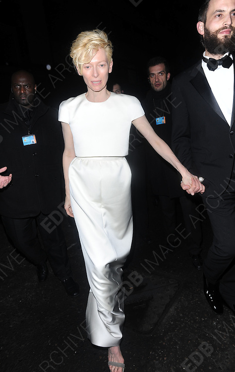 12.FEBRUARY.2012. LONDON<br /> <br /> TILDA SWINTON AT THE WEINSTEIN COMPANY AND ENTERTAINMENT FILM DISTRIBUTION POST BAFTA EVENT AT THE LE BARON, EMBASSY CLUB, LONDON<br /> <br /> BYLINE: EDBIMAGEARCHIVE.COM<br /> <br /> *THIS IMAGE IS STRICTLY FOR UK NEWSPAPERS AND MAGAZINES ONLY*<br /> *FOR WORLD WIDE SALES AND WEB USE PLEASE CONTACT EDBIMAGEARCHIVE - 0208 954 5968*