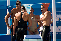 Damir Dugonjic, Jernej Godec, Robi Zbogar and Peter Mankoc of Slovenia after the Men's  4x 100m Medley Relay Heats during the 13th FINA World Championships Roma 2009, on August 2, 2009, at the Stadio del Nuoto,  in Foro Italico, Rome, Italy. (Photo by Vid Ponikvar / Sportida)