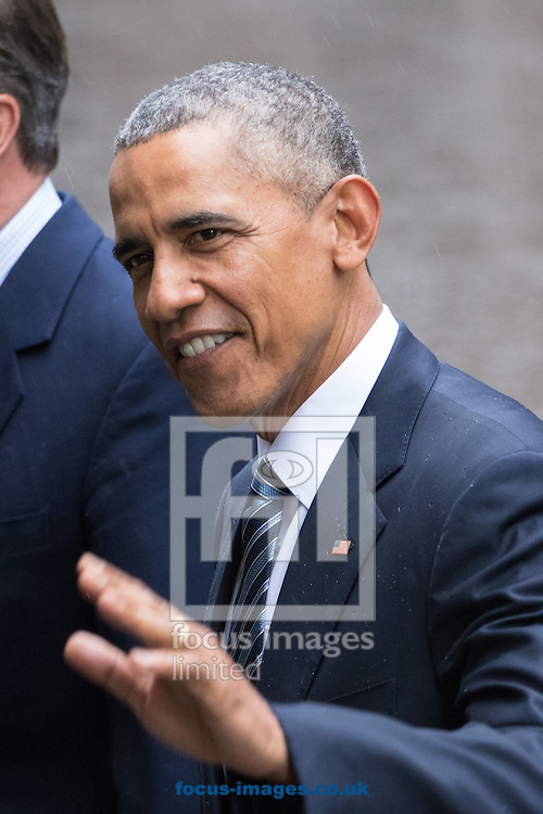 United States President Barak Obama leaves 10 Downing Street in London to address a press conference with British Prime Minister David Cameron.<br /> <br /> Picture by Paul Davey/Focus Images Ltd +447966 016296<br /> 22/04/2016