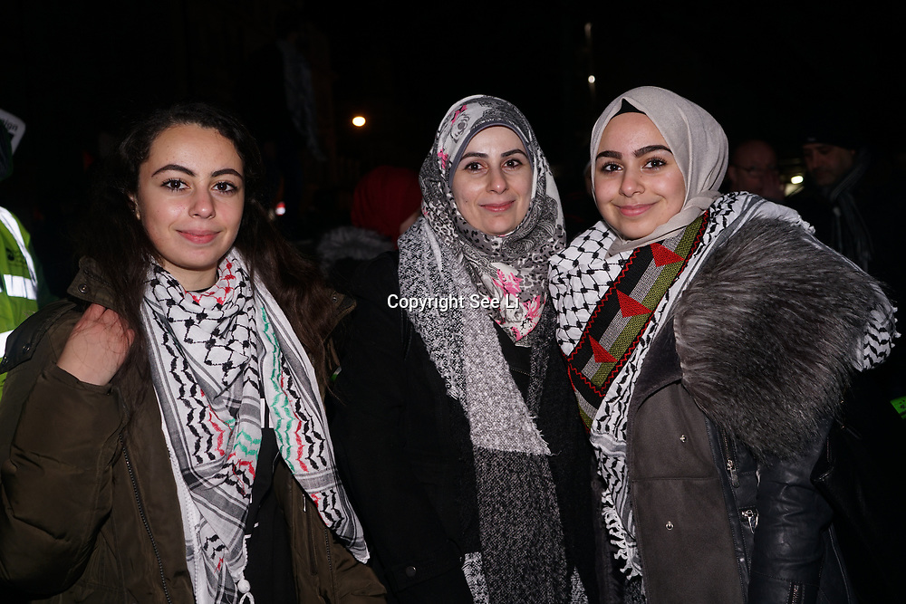 Leanne Mohamad mum and sister condemns President Trump's recognizing Jerusalem as Israel's capital, protestors stated Jerusalem is and always the capital of Palestine on 8th Dec 2017 outside US embassy, London, UK