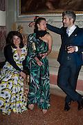 DANIELA HELAYEL ; INGE THERON; JUAN SANTA CRUZ , Andrea Dibelius of the EMDASH Foundation hosts party to celebrate the Austrian Pavilion and artist Mathias Poledna at the Venice Biennale. Palazzo Barbaro, Venice. 30 May 2013<br /> <br /> <br /> Venice. Venice Bienalle. 28 May 2013