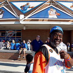Jun 12, 2012; Oklahoma City, OK, USA;  Oklahoma City Thunder fan Streeter outside prior game one in the 2012 NBA Finals against the Miami Heat at the Chesapeake Energy Arena.  Mandatory Credit: Derick E. Hingle-US PRESSWIRE