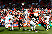 Steve Cook (3) of AFC Bournemouth has a headed shot at goal during the Premier League match between Bournemouth and Swansea City at the Vitality Stadium, Bournemouth, England on 5 May 2018. Picture by Graham Hunt.