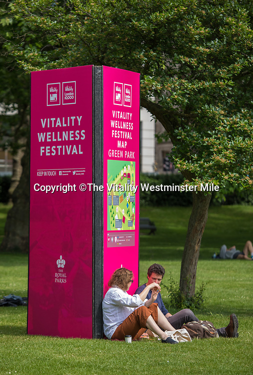The Vitality Wellness Festival in Green Park at The Vitality Westminster Mile, Sunday 28th May 2017.<br /> <br /> Photo: Neil Turner for The Vitality Westminster Mile<br /> <br /> For further information: media@londonmarathonevents.co.uk