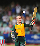 Morne van Wyk , South Africa celebrates his 100 runs during the 2015 KFC T20 International Series cricket match between South Africa and West Indies at the Kingsmead Stadium in Durban on the 14th of January 2015<br /> <br /> ©Sabelo Mngoma/BackpagePix