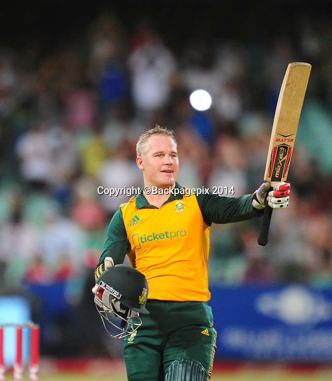 Morne van Wyk , South Africa celebrates his 100 runs during the 2015 KFC T20 International Series cricket match between South Africa and West Indies at the Kingsmead Stadium in Durban on the 14th of January 2015<br /> <br /> &copy;Sabelo Mngoma/BackpagePix