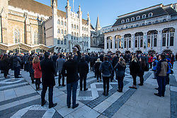 © Licensed to London News Pictures. 02/12/2019. London, UK. Londoners pay their respect during the Vigil at the Guildhall London for the victims of the London Bridge attack on Friday 29/11/2019. Photo credit: Alex Lentati/LNP