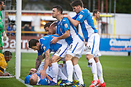 James Constable of Eastleigh (on floor) celebrates scoring their first goal to make it Southport 0 Eastleigh 1 during the The FA Cup match at Haig Avenue, Southport<br /> Picture by Ian Wadkins/Focus Images Ltd +44 7877 568959<br /> 07/12/2014