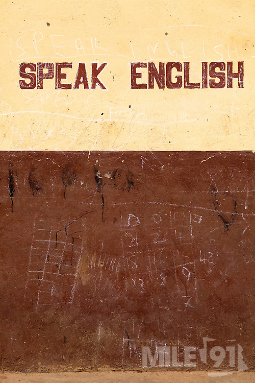 Speak English signs on the wall at Tonga Junior High School in Talensi Nabdam, Ghana.