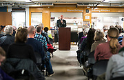Executive Director Greg Markle provides opening remarks during the grand opening ceremony for Operation Fresh Start on Milwaukee Street in Madison, WI on Thursday, April 11, 2019.