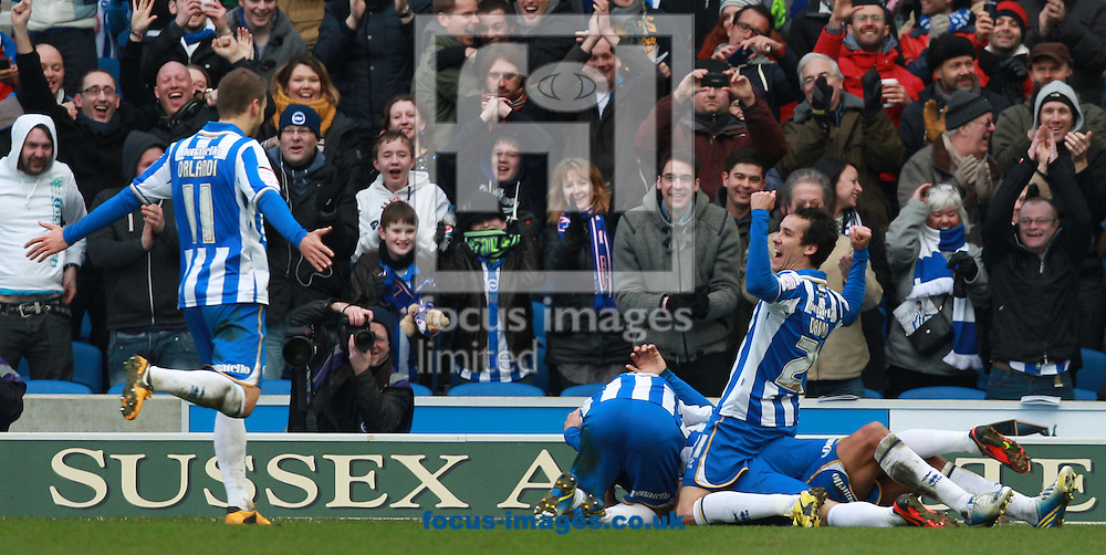 Picture by Paul Terry/Focus Images Ltd +44 7545 642257.02/03/2013.Leonardo Ulloa of Brighton and Hove Albion celebrates with team mates after he scores his third goal to make it 3-1 during the npower Championship match at the American Express Community Stadium, Brighton and Hove.
