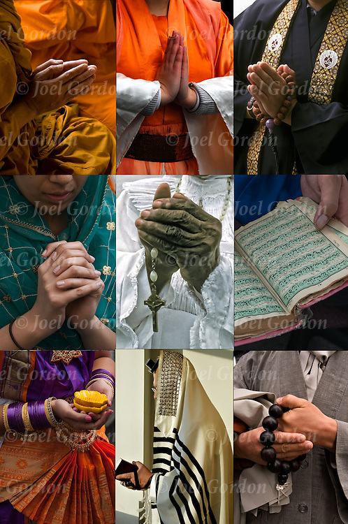 nine images of people praying from different world religions: Buddhism, Christianity, Hinduism, Islam, Judaism, and Sikhism.<br /> <br /> Mother Child Prayer - GOR-63284-08.Mother Essie McDonald - GOR-71572-92.Sikh Prayer - GOR-53342.Morning Prayer - GOR-53771-08.Laotian Honoring Death - GOR-55789-08.Diwali CloseUp - GOR-62951-08. --- Monk Praying - GOR-55770-08 -- SikhDayPrayer - GOR-53320-08 - Prayer Beads - GIR-66265-09