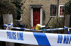 © under license to London News Pictures. 2011.02.22.  Police lines at the front of the property. Police have launched a murder investigation today (Tues) after the battered body of an 86-year-old woman was found at her home in South East London. Officers were called to an address in Oakridge Road, Downham, Bromley, on Sunday evening amid concerns over the welfare of a resident. Picture credit should read Grant Falvey/LNP
