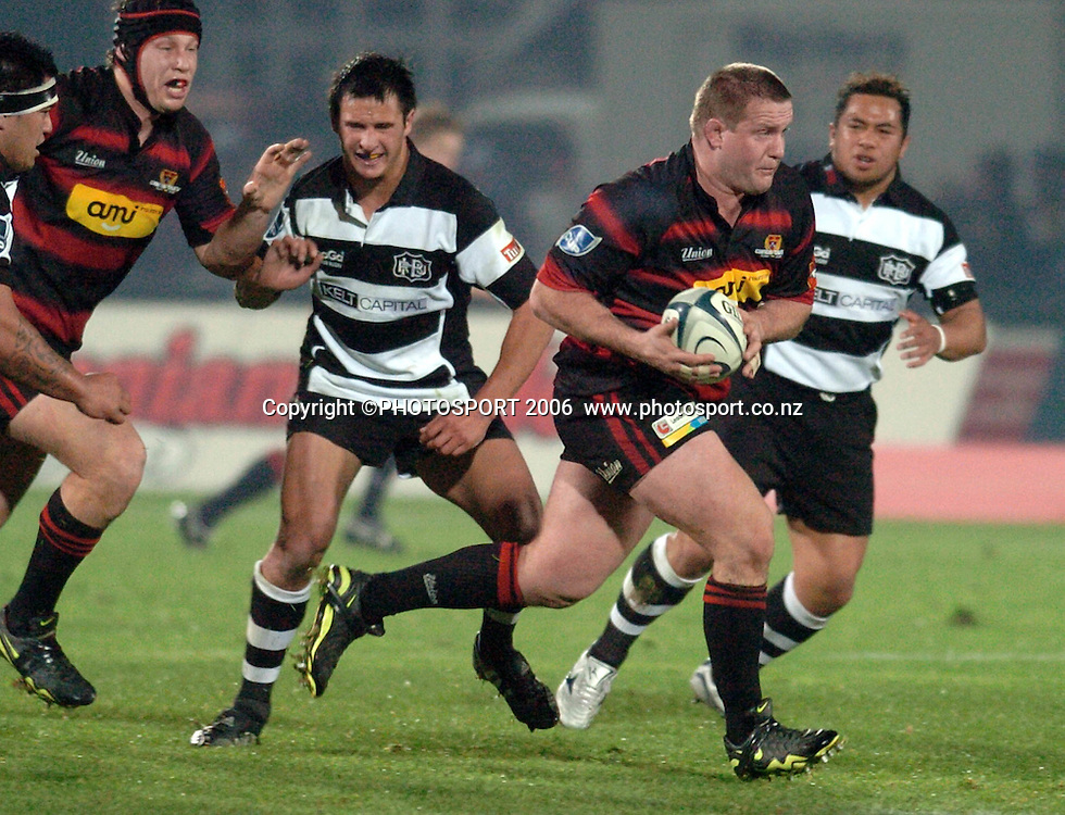Canterbury's Campbell Johnstone makes a break during the Air New Zealand Cup week 1 rugby match between Hawke's Bay and Canterbury at Mclean Park, Napier on Friday 28 July 2006. Photo: John Cowpland/PHOTOSPORT<br /> <br /> <br /> <br /> <br /> <br /> 280706