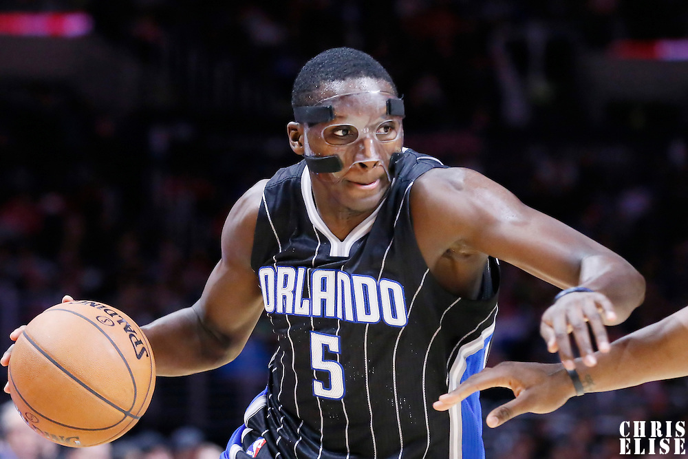 03 December 2014: Orlando Magic guard Victor Oladipo (5) dribbles during the Los Angeles Clippers 114-86 victory over the Orlando Magic, at the Staples Center, Los Angeles, California, USA.